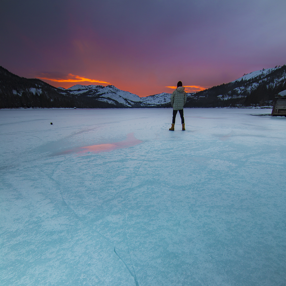 GORGEOUS fall-colored sunsets over the frozen paradise of Donner Lake. What a sight. Photo by Jeremy Jensen/Moonshine Ink
