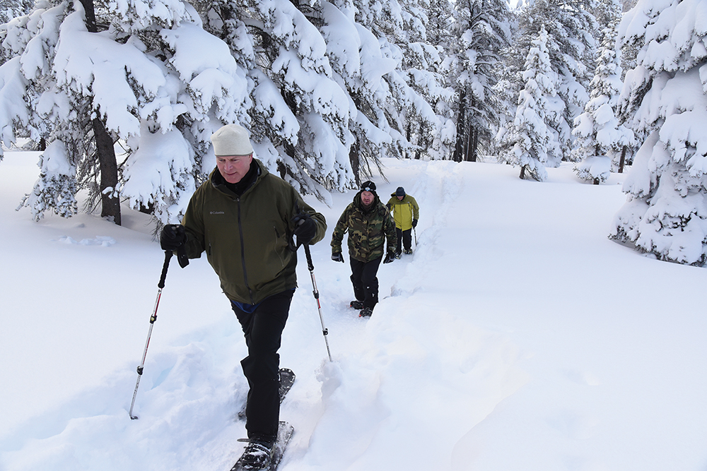 RIM TRAIL: Dozens of access points to the TRT around the lake offer opportunities to get outside and ski or snowshoe with your friends and even your dog. Photo courtesy Tahoe Rim Trail Association