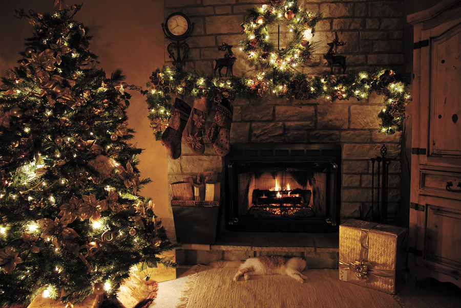 CAREFUL COZY: Christmas lights and a healthy burning fire keep the house warm and inviting, but be sure to turn them off and douse the fire before hitting the hay. That said, cooking represents the number one holiday hazard. Woogies/bigstockphoto.com